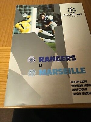 RANGERS v MARSEILLE 25.11.1992 CHAMPIONS LEAGUE no ticket