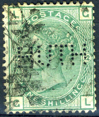 GREAT BRITAIN 1873-80 1s Green. Plate 12. SG 148. Used. Perfin. (AB351)