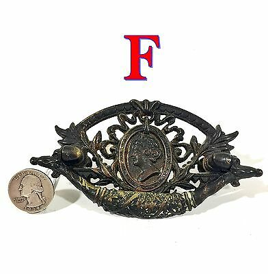 Antique 1880's English Cast Bronze Drawer Pull w/ Queen Anne Cameo *F*
