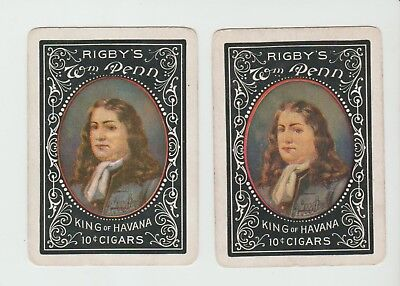 2 DIFFERENT PENN CIGARS       PLAYING CARDS  single cardS   WIDE