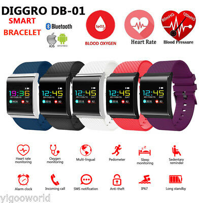 Diggro Sport Blood Pressure Oxygen Heart Rate Fitness Smart Watch Bracelet IP67