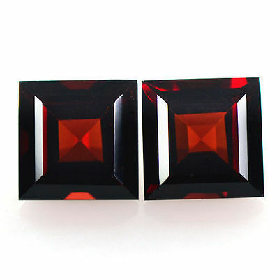 4.47 cts Natural Lustrous Pyrope Red Garnet Gems Square Cut Pair Mozambique 7mm