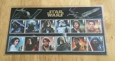 Gb 2015 Star Wars Collectors Pack 12 Stamps.