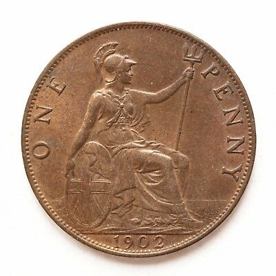 1902 Edward VII Penny A/UNC About Uncirculated Some lustre cover SNo47627