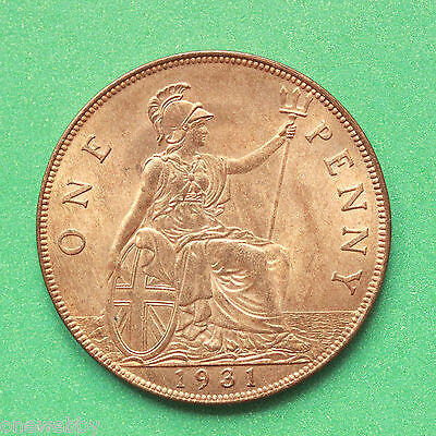 1931 George V Uncirculated Penny Full lustre SNo40696