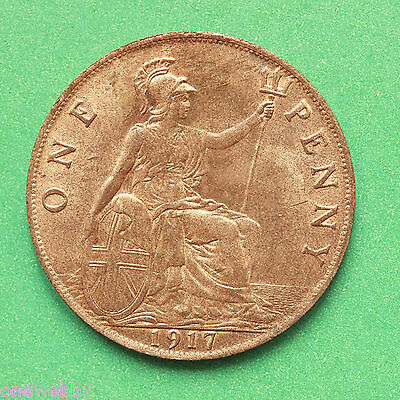 1917 George V UNC Uncirculated Penny Good lustre cover SNo40714