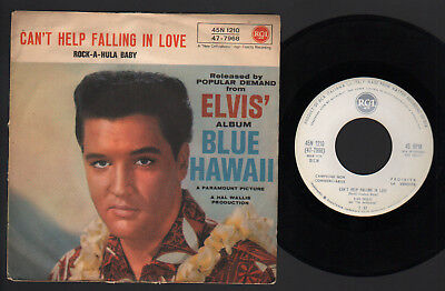 """7"""" Elvis Presley Can't Help Falling In Love Italy Promo White Rca Label 1962"""