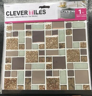 """15 X Self adhesive Mosaic Clever Tile Stickers Gold Glitter 10""""x 2.5"""" (4 Pack)"""