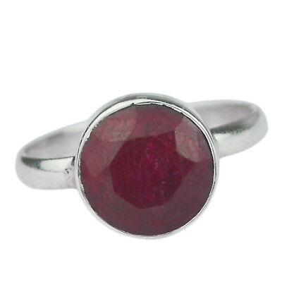 Natural Ruby Gemstone 925 Sterling Silver Jewelry Ring Size US 5 US 1.90 g