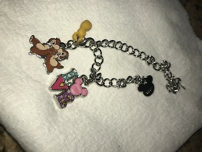 Disney Parks Charmed In The Park - Silver- Color Charm Bracelet Plus Charms!