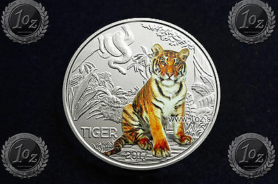 AUSTRIA / ÖSTERREICH 3 EURO 2017 (TIGER - Tierthaler) Commemorative COLORED Coin