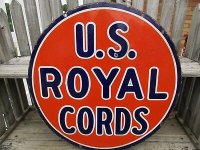 Early 1900's U.s. Royal Cords 2 Sided  Porcelain Hanging Sign/gas/oil/tires