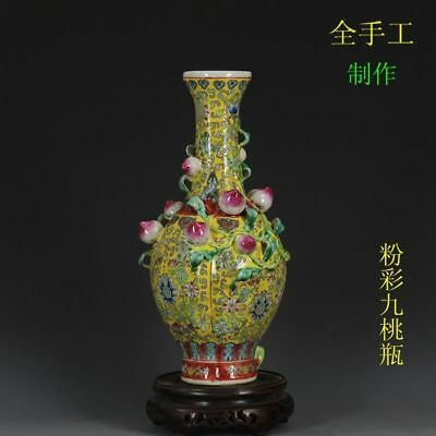 China old antique Porcelain hand painting QING QIANLONG paster flower peach vase