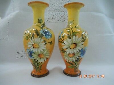 A Good Pair of Doulton Lambeth Faience Floral Vases Ca.1895