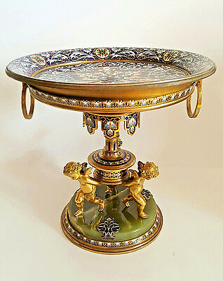Superior 19C Antique French Gilt Bronze Champleve Enamel Centerpiece