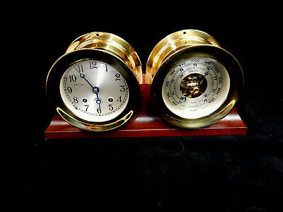 """Chelsea Ships Bell Clock & Barometer - Double Brass - EXCELLENT CONDITION ~ 4.5"""""""