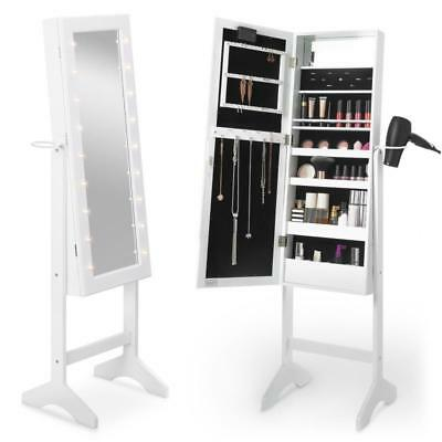 Standing Mirror White LED Cabinet Storage Make Up Brushes Jewellery Hairdryer