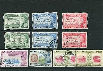 Jamaica. 10 -- Early Qe2 Used Stamps On Stockcard