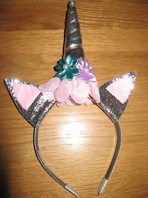 Halloween/Party silver Unicorn style headband/hairband (fits age 3 - adult)