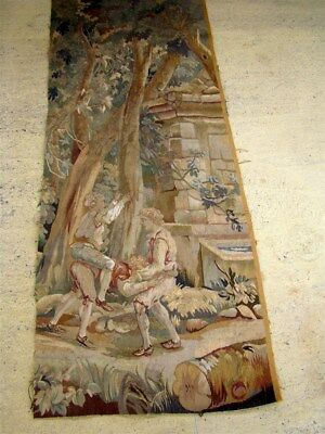 French antique fragment Aubusson tapestry 18th-century verdure and personages
