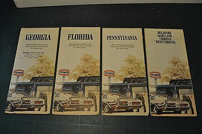 TEXACO State Maps x4 1973-75 Pennsylvania Florida Georgia Delaware Virginia etc