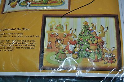 TRIMMIN' THE TREE, quilt panel, picture, Christmas rabbit family, sealed