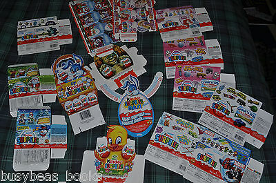 Kinder Surprise boxes, 14 different 2010-2014, from Canada, empty, mailed flat