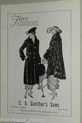 1918 Gunthers Furs advertisement, fashion lady's fur coats