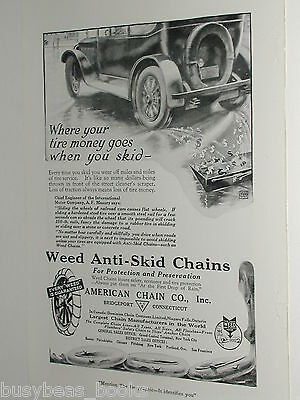 1920 Weed Anti-Skid Tire Chains advertisement, American Chain Co. skidding auto