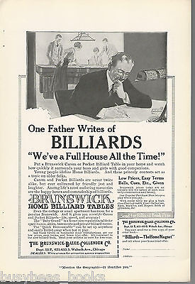 1917 Brunswick POOL TABLE advertisement, billiard table, family fun