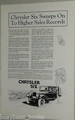 1925 Chrysler advertisement page for CHRYSLER Six Coach
