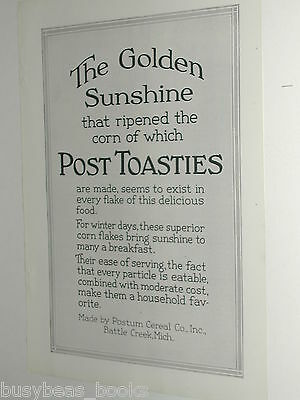 1920 Post Toasties advertisement, Postum Cereal Co., corn flakes