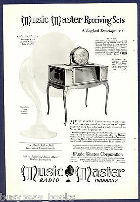 1925 MUSIC MASTER Radio advertisement, Type 300 set with Model XII Drum Speaker