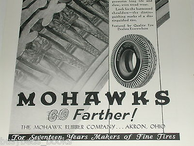 1930 MOHAWK Tire advertisement, Mohawk Rubber Co, Indians molded on tires