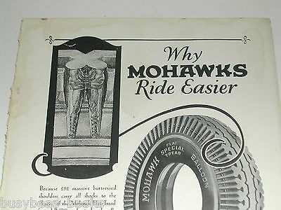 1930 Mohawk Tire ad, Mohawk Rubber Co, Indians in tread