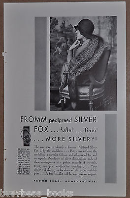 1930 FROMM BROTHERS FUR advertisement, Alfred Cheney Johnston photo, silver fox