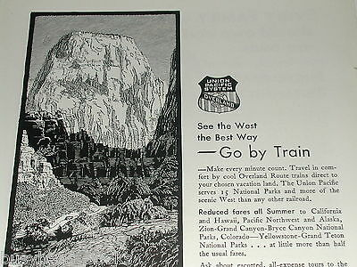 1930 Union Pacific RR ad, Great White Throne, Zion Park