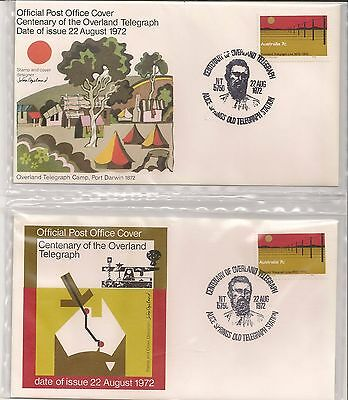 Centenary Of The Overland Telegraph First Day Cover x 2 FDC  Australia Aug 1972