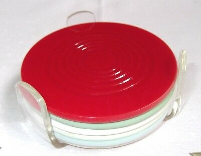 6 Vintage Art Deco Lucite Drinks Coasters*+Stand;cocktail, Bar {*diff.colours}