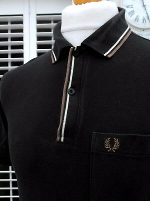 Fred Perry Black Twin Tipped Pique Polo - S/M - Ska Mod Scooter Casuals Skins