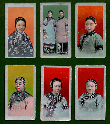 6 1904 British American Tobacco Cards Chinese Girls 'b' Silver Borders