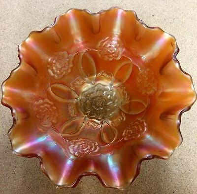 ORANGE CARNIVAL GLASS WAVY BOWL - vintage dish