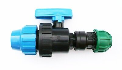 Reducing Pipe Joiner with In-Line Ball Valve.  MDPE Compression Fittings