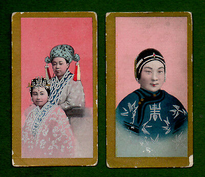2 1904 British American Tobacco Cards Chinese Girls 'f3' Gold Borders
