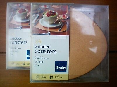 NEW Denby Caramel Fire Set of 8 Wooden Coasters Mats Tableware Accessories