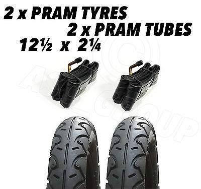 2x Pram Tyres & 2x Tubes 12 1/2 X 2 1/4 Slick Out n about nipper 360 mamakiddies