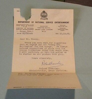 1945 WWII Roland Crossley Signed Autographed Letter British Army Drama Division