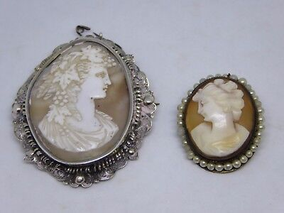 2 x Very Ornate Carved Shell Cameo Brooches - One Possibly Silver