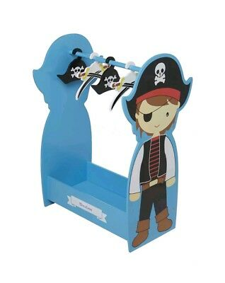 Personalised Boy's Pirate Wooden Dress Up Clothing Rail/Fancy Dress With Hangers