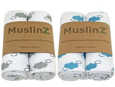 MuslinZ 2pk 120cm Bamboo/Organic Cotton Muslin Swaddling Cloth - Choose Colour